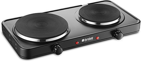 Kitchen Countertop Cast-Iron Double Burner - Stainless Steel Body – Sealed Burners - Ideal for RV, Small Apartments, Camping, Cookery Demonstrations, or as an Extra Burner – by Durabold
