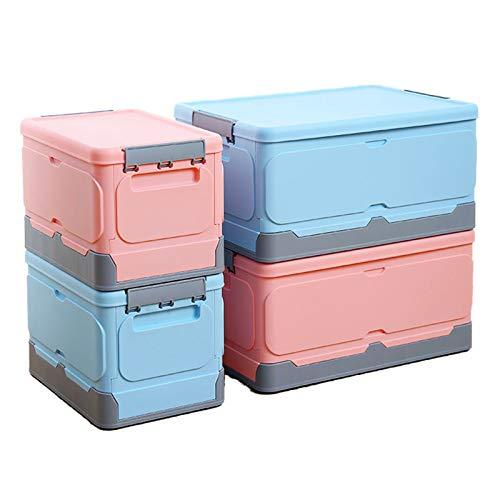 ZYYPLIFE Boîte de Rangement Pliable avec Couvercle, boîte de Rangement pour vêtements, empilable et Peu encombrante, Peut être rangée dans des armoires, des armoires et sous Le lit (Blauw,Groot)