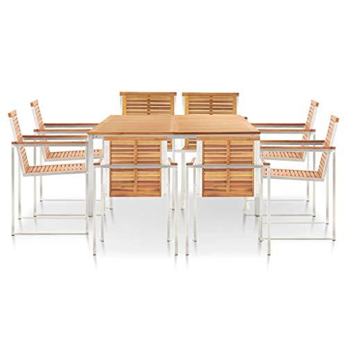pedkit Conjunto de Mesa sillas,Mesa Salón y Sillas,Muebles de Jardin Exterior Conjuntos Juego de Comedor 9 Piezas Madera Maciza Acacia Acero Inoxidable