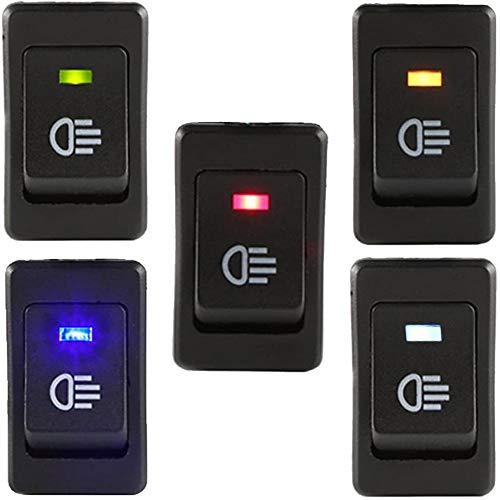 RUNCCI-YUN 35A 12V KFZ Schalter wasserdicht beleuchtet LED 4 Polig Wechsel Switch Kippenschalter Wippschalter EIN-/Ausschalter für Nebelscheinwerfer Scheinwerfer