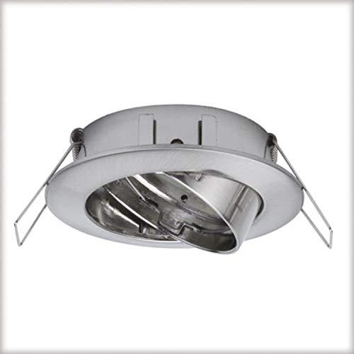 Paulmann 99743 Spot Premium Einbaurahmen schwenkbar Eisen gebürstet 3er Kombinieren Downlight 2Easy Basic-Sets Einbaustrahler, Metall, Silber