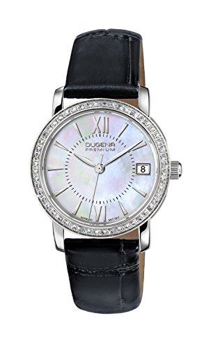 Dugena Damen Quarz-Armbanduhr, Saphirglas, Mit Zirkonia besetzte Lünette, Lederarmband, Silber/Schwarz/Perlmutt, 7500138