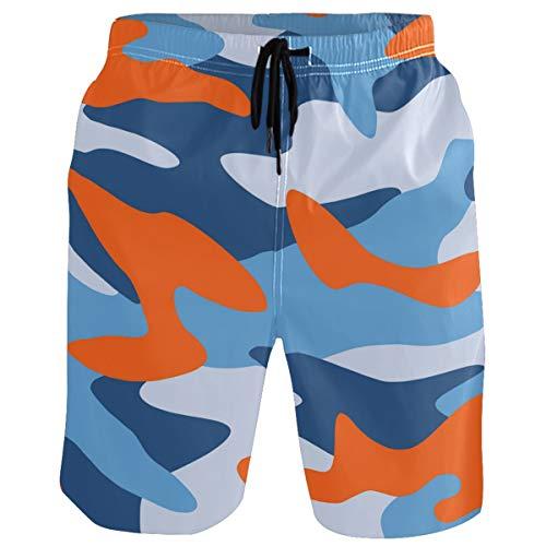 visesunny Blue and Orange Camouflage Men's Beach Shorts Swim Trunks Sports Running Bathing Suits with Mesh Lining