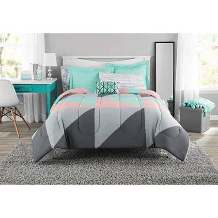 Mainstay Grey & Teal Bed in a Bag Bedding Set (Queen)