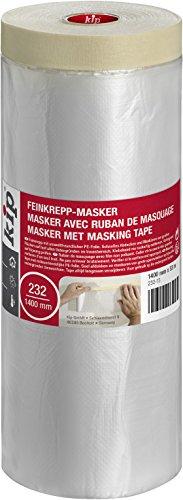 Kip Tape 232-13 Feinkrepp-Masker – Abdeckfolie mit Kreppband zum Streichen & Lackieren – Schutz vor Farbflecken – 1400mm x 33m