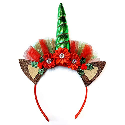 Red & Green Unicorn Reindeer Headband | Sparkly and Perfect For Your Holiday & Christmas Parties, Parades and Gatherings