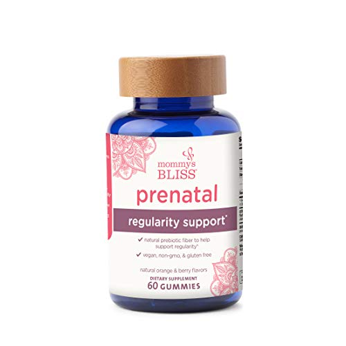Mommy's Bliss - Prenatal Regularity Support - Prebiotic Fiber Women's Dietary Supplement With Chicory Root Fiber, Vegan, Non-GMO, and Gluten Free - Natural Orange and Berry Flavor - 60 Gummies