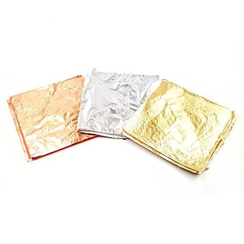 JZK 300 Hojas de pan de oro de Imitación papel de plata de Imitación, papel oro rosa Imitación para artesanías arcilla limo uñas mueble pintura,14 x 14 cm