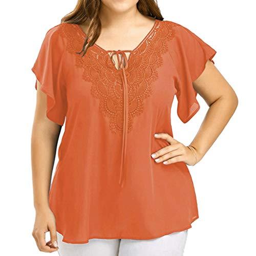 Camisa de manga corta para mujer, blusa de encaje con cuello en V, blusa sólida con encaje y retazos de manga corta, blusa de color liso para mujer, para Pascua de San Patricio (naranja-3XL)