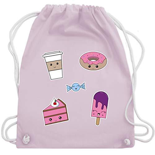 Comic Shirts - Kawaii Sweets - Unisize - Pastell Rosa - turnbeutel kawaii - WM110 - Turnbeutel und Stoffbeutel aus Baumwolle