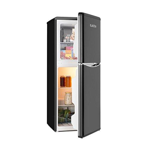 Klarstein Monroe L - Nevera Combi, Aspecto retro, Nevera de 70 l, 38 litros de congelador, 2 estantes de vidrio, Cajón de verduras, 2 compartimentos en la puerta, Regulable a 5 niveles, Negro