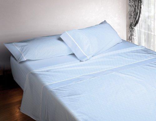 Burrito Blanco Juego de Sábanas 673 4 Piezas (Encimera, 2 Fundas de Almohada y Sábana Bajera Ajustable) Algodón 100% para Cama de Matrimonio de 180x190 cm hasta 180x200 cm, Topitos Azul Celeste