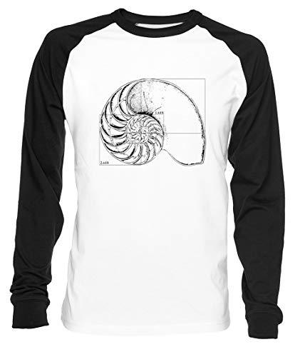 Erido Fibonacci sur Une Nautile Coquille Homme Femme Unisexe Baseball T-Shirt Blanc Noir Men's Women's Unisex Taille L Men's White T-Shirt Large Size L
