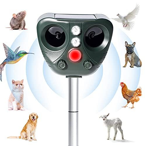 Repelente Gatos Repelente de Animales Ultrasónico de Energía Solar Ahuyentador de Animales Repelente para Gatos Jardin Exterior Carga Solar y USB para Alejar Ratones, Perros, Pájaros, Zorros