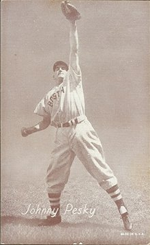 1947 Exhibits Regular (Baseball) Card# 225 Johnny Pesky of the Boston Red Sox Good Condition