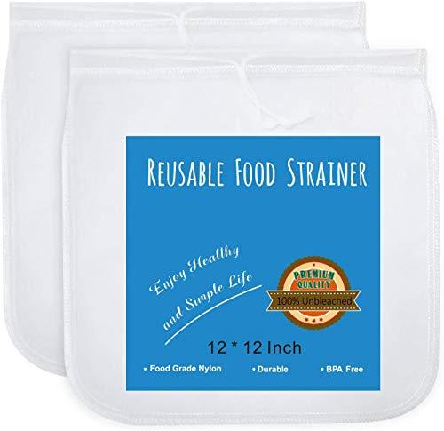 OldPAPA 2 Sac à Lait Végétal en Nylon | Sac Passoire 100% alimentaire, EN Maille fine en nylon-150u Professional filtre Sac réutilisable pour lait d'amande, jus, Cottage Cheese