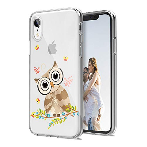 cocomong Cool Owl Clear Phone Case Compatible with iPhone XR Cases for Women Designer Cute Owl Gifts for Girls Men Boys, Slim Fit Soft TPU Cover Thin Funny Silicone Protective Shockproof 6.1'