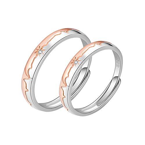 MIKAMU 星 愛の証 ペアリング ジュエリーレディースリング メンズリング フリーサイズ ハート CZダイヤモンド シルバー925 純銀製 刻印 星形 婚約指輪 結婚指輪 恋人 プレゼント (レディース)