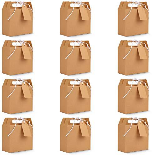 Belle Vous Cajas Kraft Marrón para Fiestas Cajitas para Regalo con Etiquetas (Pack de 20) 16 x 14,7 x 6,5 cm - Cajas para Dulces Lisas para Cumpleaños, Alimentos, Baby Shower y Bodas