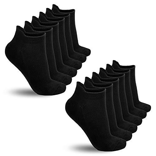 TECHTIC Low Cut Running Socks Ankle Athletic Socks Breathable Comfort Tab for Women Men Athletic Sports (UK:3-6.5/EU:35-39, Black 6Pack)