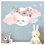 Little Deco Wandsticker Mond & Wolken I Weiß/Rosa XL - 100 x 51 cm (BxH) I Kinderzimmer Wandtattoo Mädchen Baby Deko Zimmer DL246-1-XL