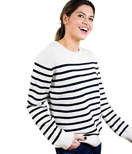 ETERKNITY - Jersey Marinero Suave y cómodo de Cuello Redondo con estilosas Rayas Navy para Mujer