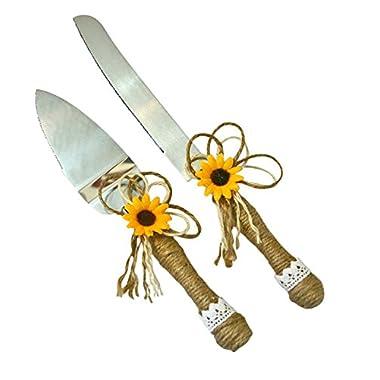Sunflower Wedding Rustic Wedding Cake Knife Server Gift Set Burlap Twine Bridal Shower Gift (Natural Jute)