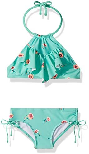 Kanu Surf Girls Big Ruffle Halter Bikini 2 Piece Swimsuit Pink 2T Morgan Aqua Floral 12 product image