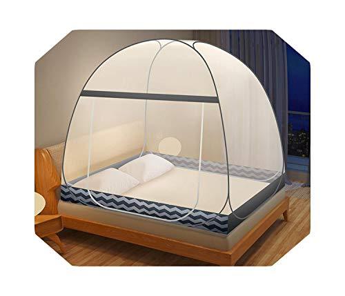 Eileen Ford Zomer Opvouwbaar Klamboe Insectengaas Mongoolse Yurt Bednetententen Met Rits Dubbele Deur Muggennetten Luifel 1m-2m Bed-hailang -Zwart-1.8m (6 Voeten) Bed