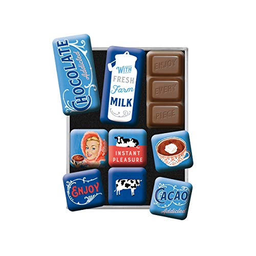 Nostalgic-Art Retro Kühlschrank-Magnete Chocolate Addicted – Geschenk-Idee für Nostalgie-Fans, Magnetset für Magnettafel, Vintage Design, 9 Stück