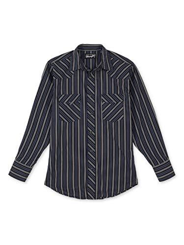 Wrangler Men's Western Silver Edition Two Pocket Long Sleeve Snap Shirt, Black/Navy, Large