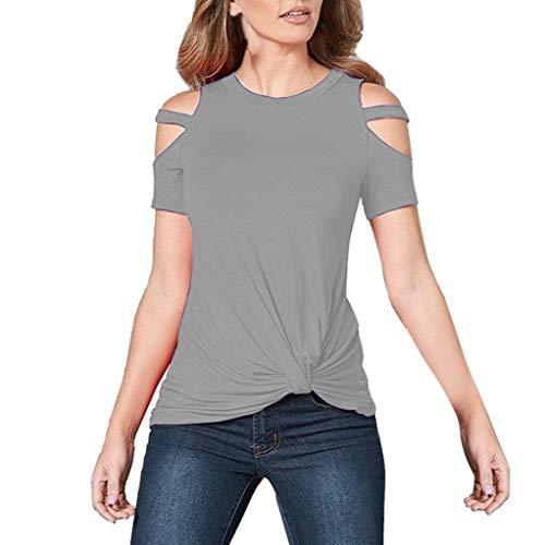 TWIFER Sommer Damen T-Shirt Beiläufiges Trägerloses O-Ansatz Festes Kurzes Hülsen Knoten Shirt Tops