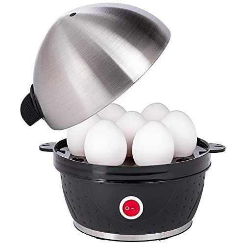 Slabo elektrischer Eierkocher aus Edelstahl 1 Ei - 7 Eier | Frühstücksei | Integrierter Überhitzungsschutz | Eier-Kocher | Tonsignal | Kontrolleuchte | Messbecher mit Stechhilfe | 380Watt - SCHWARZ