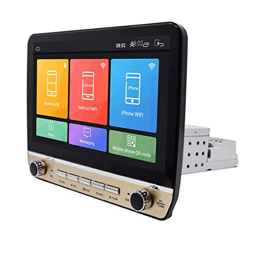 SODIAL 1Din 10,1 Zoll Doppel Knopf Verstellbarer Auto Radio Multimedia Spieler Android 9.1 WiFi GPS IPS Auto Mp5 Spieler