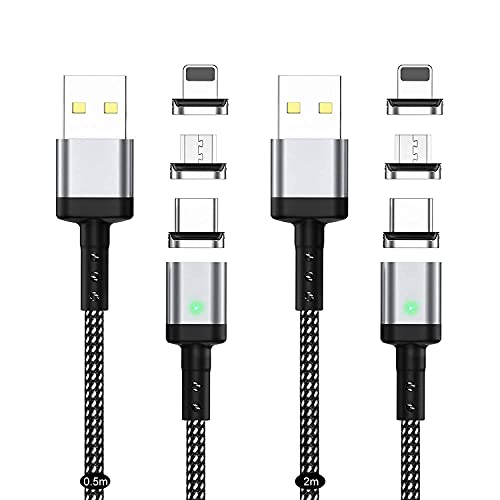 USB マグネット式充電ケーブル SUNTAIHO USBケーブル【0.5M+2M/2本セット】QC3.0 急速充電とデータ伝送 iPhone対応 USBケーブル マグネット 磁石 磁気 防塵 着脱式 iOS/アンドロイド マイクロUSB Type-C コネクタ タイプ-c Micro USB Cable LEDインジケーター付き - SYCX-001