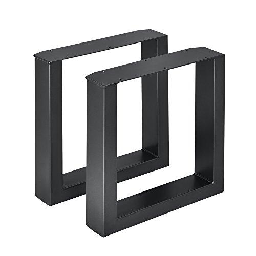 [en.casa] 2X Tischgestell 40 x 43cm Schwarz Bankgestell Bank Untergestell Tischkufen Pulverbeschichtet Viereckig Quadratisch