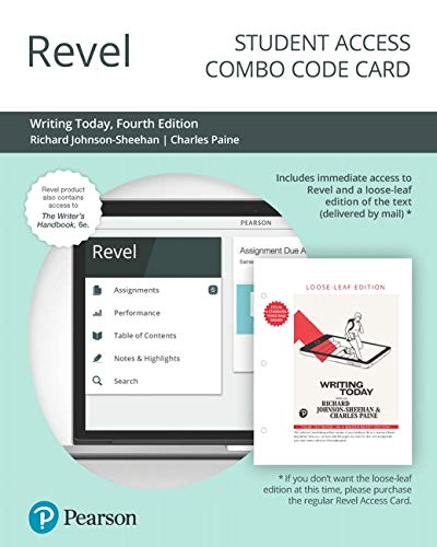 Revel for Writing Today Plus The Writer's Handbook -- Combo Access Card (4th Edition)
