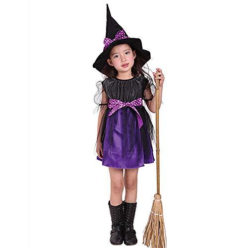 AZX Kinder Halloween Kostüm Kleid Mit Hexenhut Mädchen Fancy Party Kleid Hut Baby Kleinkind Kleidung Set Lila&Schwarz (130 cm)