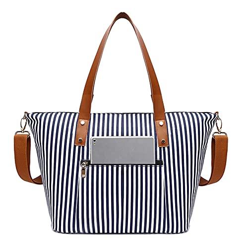 JOQINEER Laptop Tote Bag per le Donne Grande Tela Donna Cartella Impermeabile Computer Borsa Da Lavoro Borse per Le Donne Adatto 15.6 pollice Laptop (Blue Stripe)