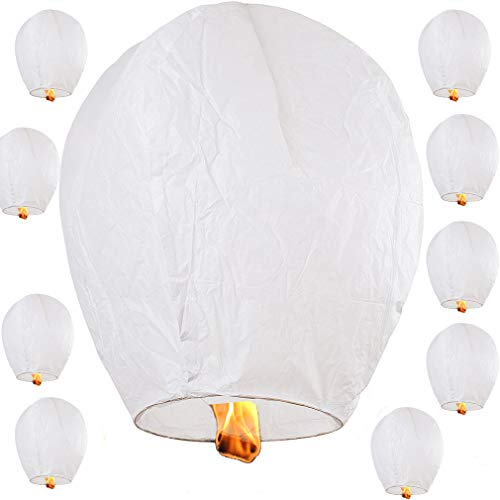 Nuluphu ECO Sky Lanterns, Chinese Paper Flying Wishing Lantern, for Weddings,...