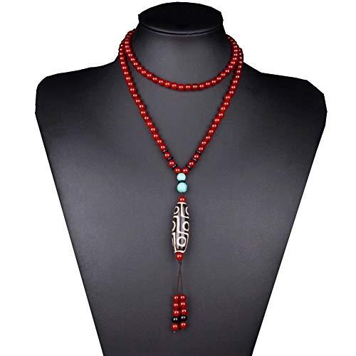 J.Memi's Vintage Natural Ágata Collar con Budista Tibetana Dzi Beads Colgante Estilo Nacional Joyeria Cadena De Suéter Regalo,Rojo