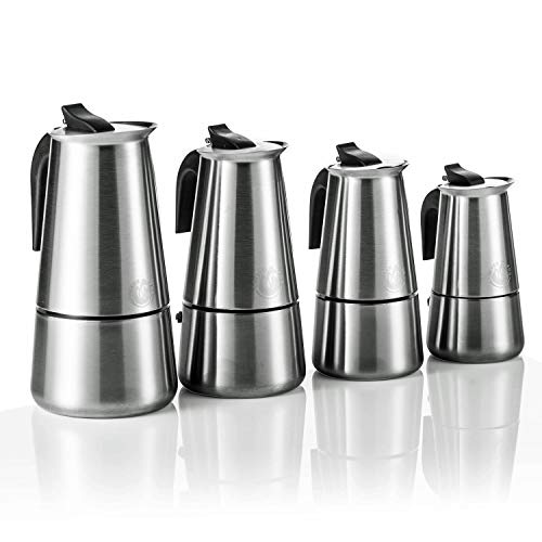 Coffee Fox Espressokocher aus Edelstahl - Kaffeebereiter Kaffeekocher Espresso-Kanne für 2 4 6 9 Tassen