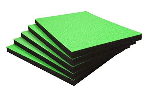 Shadow Foam Easy Peel (600mm x 420mm) | espuma personalizable para organizar cajas de herramientas (Paquete de cinco (Profundidad de 30mm), Verde sobre negro)