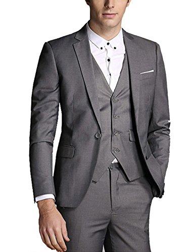 LIANIHK Giacca a quadri Colleto ad Aletta Uomo Abito Completo Sartoriale Slim Fit Elegante Cerimonia Blazer+Gilet+Pantaloni