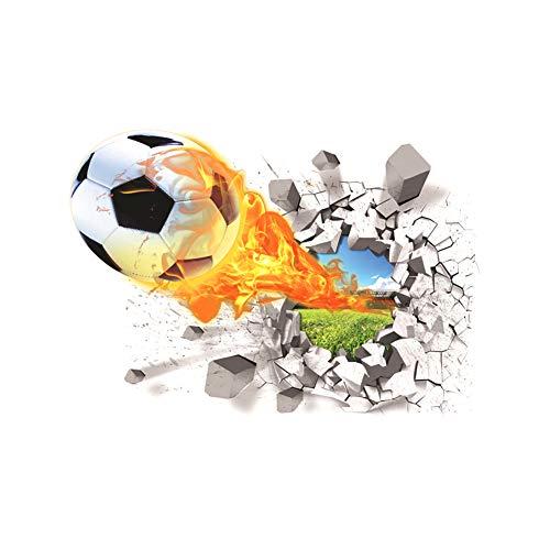 Adhesivo decorativo para pared con diseño de balón de fútbol en 3D para sala de estar, habitación de los niños, papel de pared extraíble