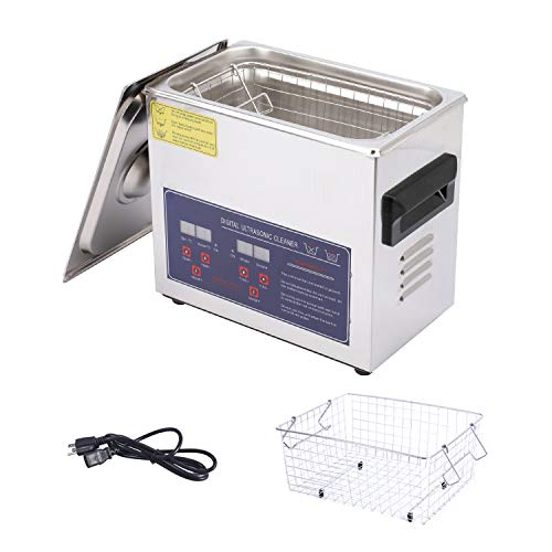 Professional Ultrasonic Cleaner with Digital Timer and Heater,304 Stainless Steel Jewelry Cleaner for Electronics, Laboratory Supplies, Glasses, Jewelry, Watches (3.2 L)