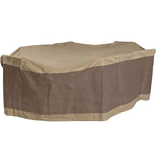 YZJL Afdekzeil, tafel- en stoelbedekking voor buiten, rechthoekige tafel en stoelafdekking, ovaal, terras, tafelkleed, waterdicht en stofdicht, duurzame afdekking