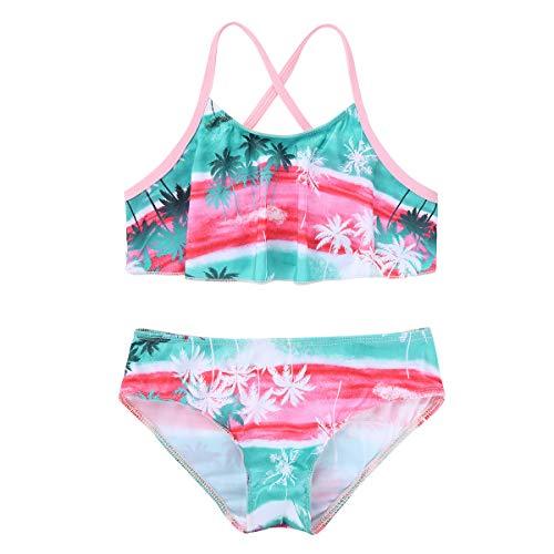 iEFiEL Mädchen Badeanzug Tankini Bikini Set mit Tropisch Palmen Bedruckt Spaghetti-Träger Sommer Bademode für Strand Baden Kinder Grün 134-140