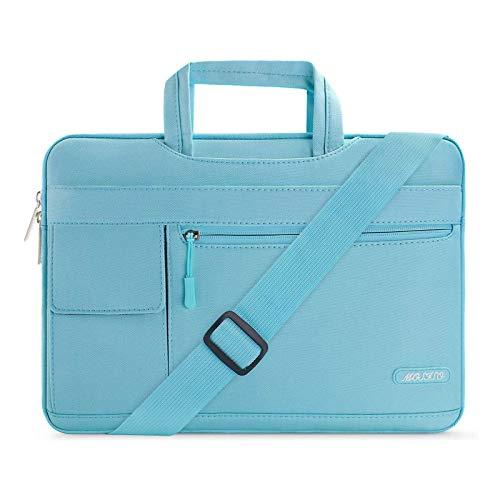 MOSISO Laptop Briefcase Shoulder Bag Compatible with MacBook Pro 16 inch A2141, Compatible with MacBook Pro Retina A1398 2012-2015, 15-15.6 inch Notebook, Polyester Flapover Sleeve Case, Hot Blue