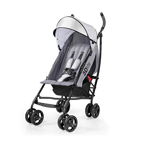 Summer 3Dlite Convenience Stroller, Gray - Lightweight Stroller with Aluminum Frame, Large Seat Area, 4 Position Recline, Extra Large Storage Basket - Infant Stroller for Travel and More